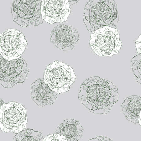Seamless pattern with fresh cabbage sketch on gray background. Hand drawn vector illustration.