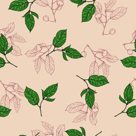 Seamless pattern with cherry berries and leaves on beige background.
