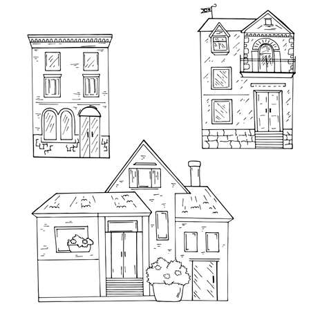 Set of doodle urban houses on white background. Hand drawn vector illustration.