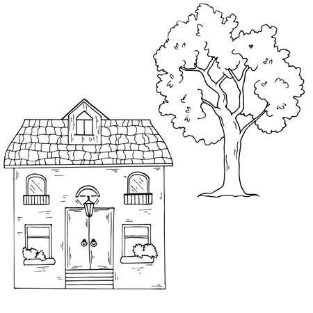 Set of doodle urban house on white background. Ilustração