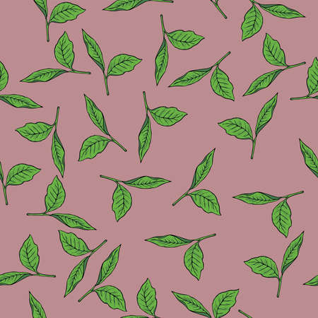 Seamless pattern with tea leaves on a pastel lilac color background .Hand drawn vector illustration.