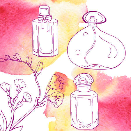 Set of  bottles and flower branch on white background with pink and yellow spots. Hand drawn vector illustration.