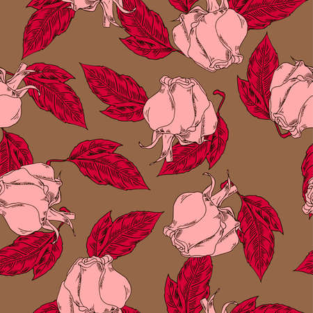 Rose flowers and leaves seamless pattern on brown background.