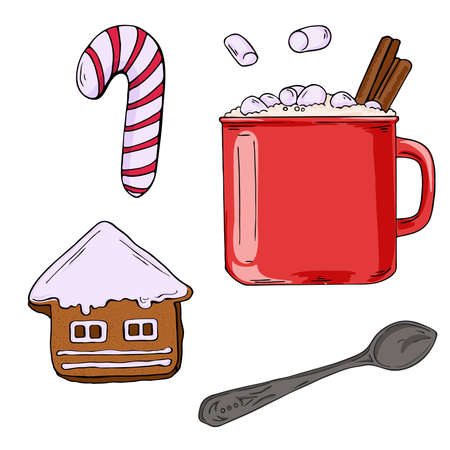 Set of red cocoa mug with marshmallow, gingerbread, christmas candy and teaspoon isolated on white background. Cartoon ink sketch. Hand drawn vector illustration.