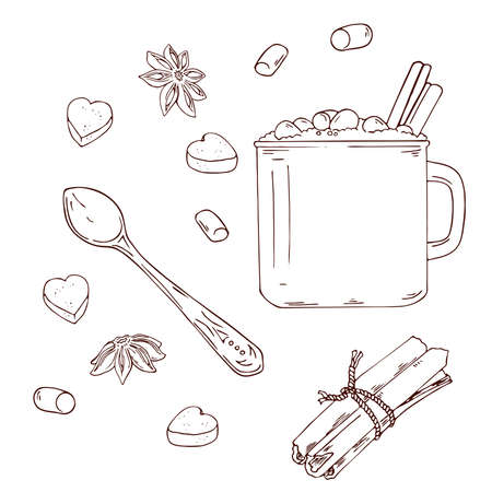 Mug of cocoa, coffee or hot chocolate with cinnamon and marshmallow isolated on white background. Cinnamon, pieces of sugar, marshmallow, anise stars and spoon sketch. Hand drawn vector illustration. Ilustração