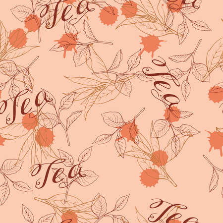 Seamless pattern with tea leaves on pastel orange background. Hand lettering. Abstract backdrops. Hand drawn vector illustration.