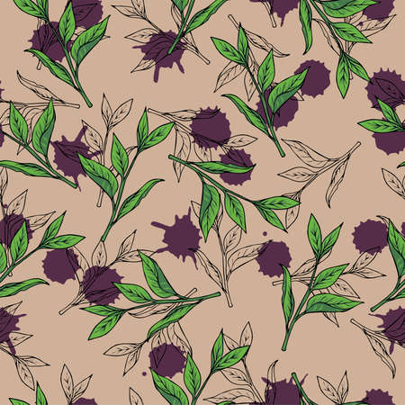 Seamless pattern with silhouette branches and green tea leaves on beige background with violet backdrops. Hand drawn vector illustration.