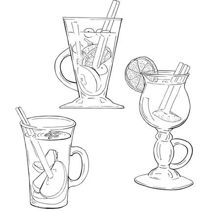 Set of traditionl winter christmas drinks. Mulled wine, cider, hot cocktails. Hand drawn vector illustration.
