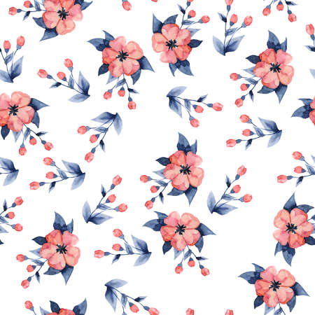 pink flowers and indigo blue leaves on  . Hand drawn  illustration.