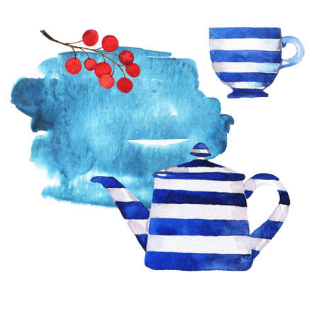 Set of blue stripped teapot and teacup with red berries and blue backdrop painted by watercolor. Hand drawn illustration.