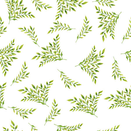 Seamless pattern with autumn leaves and branches on white background. Hand drawn  illustration.