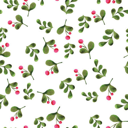 Seamless pattern with pink berries and dark green leaves on white background. Hand drawn watercolor illustration. Banco de Imagens