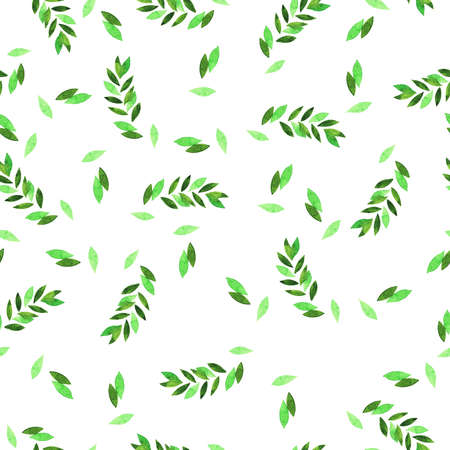 Seamless pattern with spring leaves on white background. Hand drawn watercolor illustration.