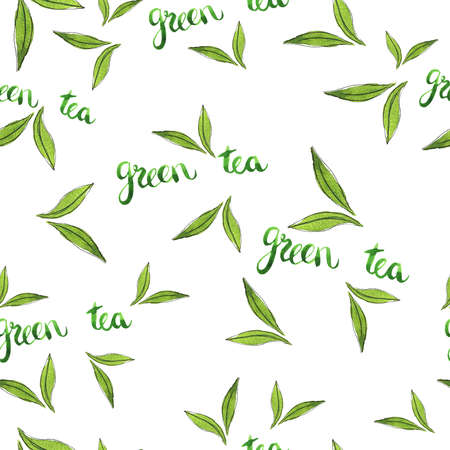Seamless pattern with green tea leaves and hand lettering. Hand drawn watercolor illustration. Banco de Imagens