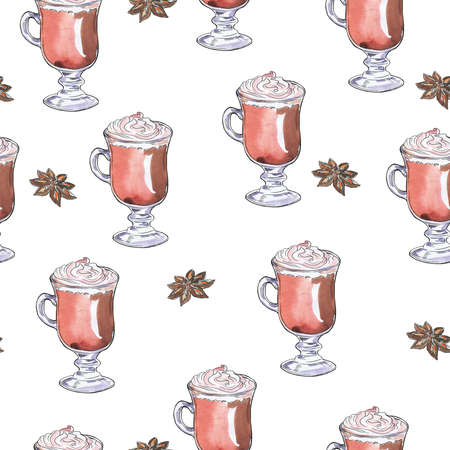 Seamless pattern with cappuccino cups and anise stars on white background. Hand drawn watercolor and ink illustration.