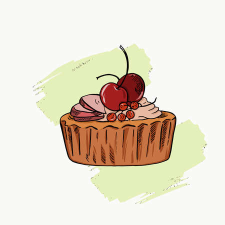 Apple and cherry tart on white background with pastel green brushstroke. Hand drawn vector illustration.