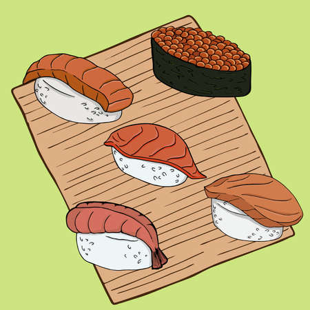 Set of nigiri sushi on bamboo napkin. Hand drawn vector illustration.