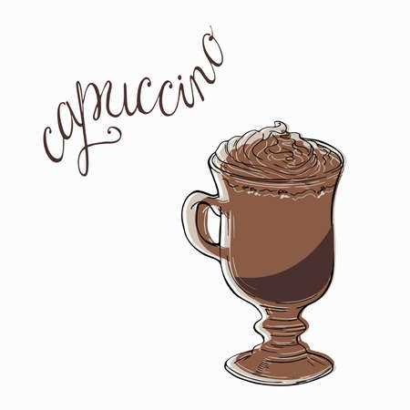 Glass of cappuccino or cocoa. Hand lettering. Hand drawn vector illustration. Stock Illustratie