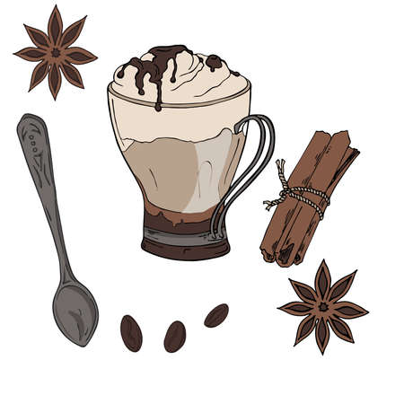 Cup of hot chocolate, cappuccino or cocoa. Teaspoon, anise stars, coffee beans and cinnamon. Hand drawn vector illustration.