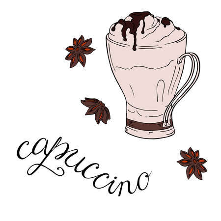 Cup with cappuccino or cocoa and anise stars. Hand lettering. Hand drawn vector illustration. Stock Illustratie