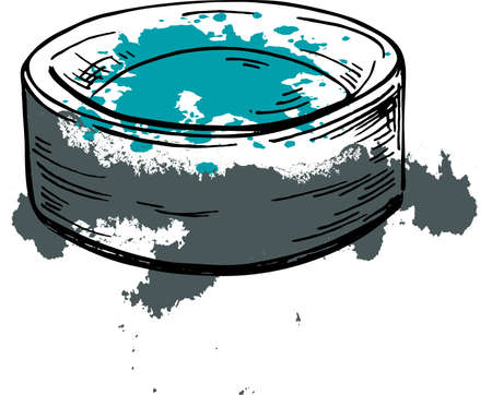 Round box fulled of eye shadow. Cartoon cosmetic sketch drawn by ink. Hand drawn vector illustration.