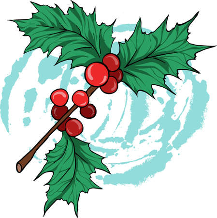 Holly leaf branch on white background with pastel blue circles. Cartoon sketch drawn by ink. Hand drawn vector illustration. Banco de Imagens - 105829445