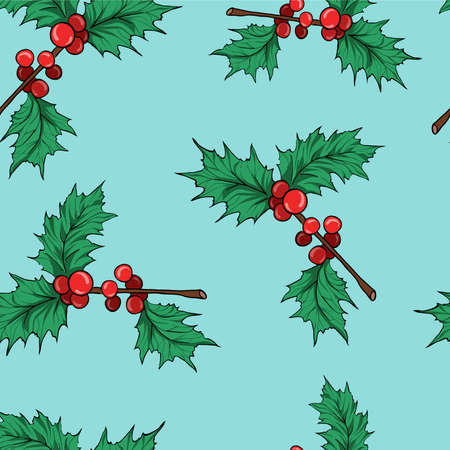 Seamless pattern with holly leaf branches on pastel blue background. Cartoon sketch drawn by ink. Hand drawn vector illustration.
