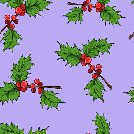 Seamless pattern with holly leaf branches on lilac background. Cartoon sketch drawn by ink. Hand drawn vector illustration.