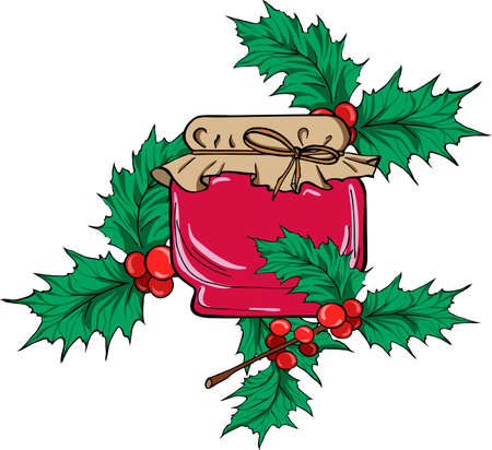 Jar of berry jam on white background with holly leaf branches. Cartoon sketch drawn by ink. Hand drawn vector illustration.