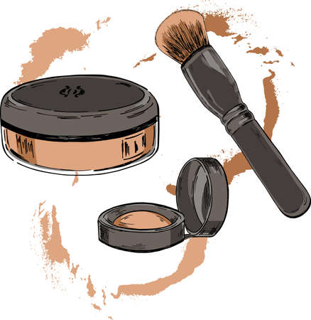 Ensemble de pinceau de maquillage, poudre et fard à joues avec des taches rondes beiges sur fond blanc. Croquis de dessin animé dessiné à l'encre. Illustration vectorielle dessinés à la main.