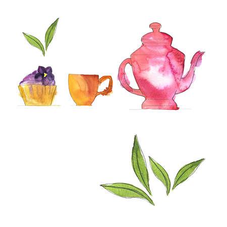 Set of pink teapot Hand drawn illustration.