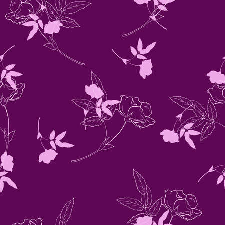 Seamless floral rose pattern in vintage style. Hand drawn illustration.