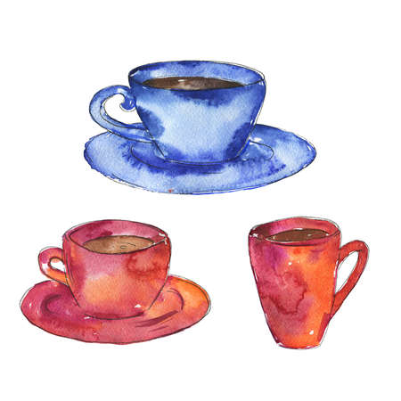 Set of cups with  ink. Hand drawn illustration.