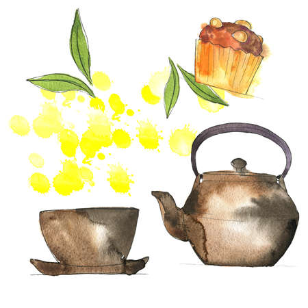 Set of metal japan teapot, teacup, saucer, almond cupcake and green tea leaves. White background with yellow backdrops. Hand drawn  illustration. Banco de Imagens