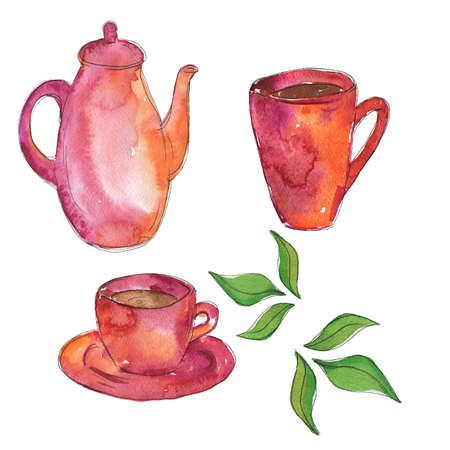 Pink teapot and two cups of tea with fresh green tea leaves drawn by watercolor and ink. Hand drawn vector illustration.