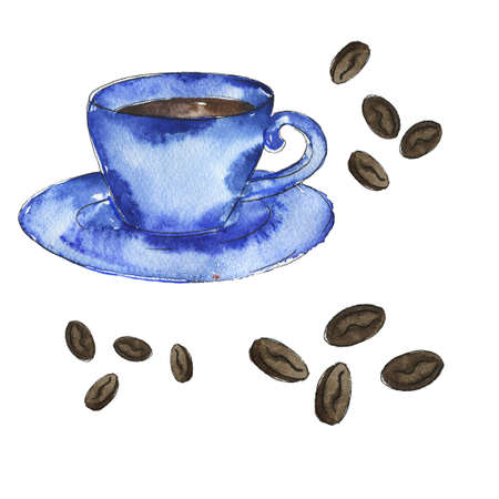 Blue cup of coffee with coffee beans Hand drawn illustration.