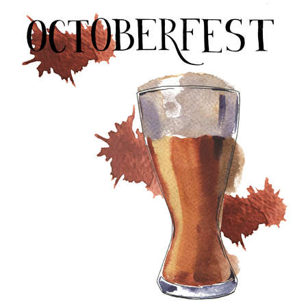 Glass of light beer on white background with brown backdrops. Hand lettering. Octoberfest card. Hand drawn watercolor illustration.