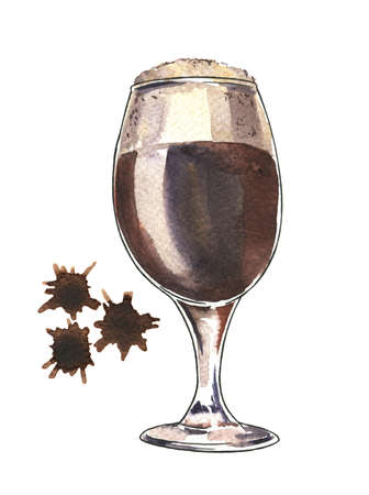 Glass of dark beer on white background with brown spots. Octoberfest card. Hand drawn watercolor illustration. Banco de Imagens