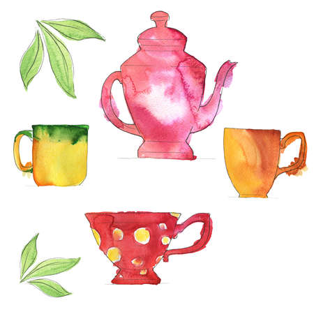 Set of teapot on white background with green tea leaves. Hand drawn  illustration. Banco de Imagens