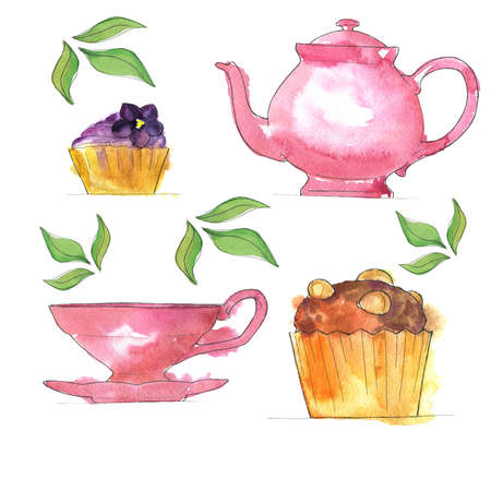 Set of teapot with pink teapot Hand drawn  illustration.
