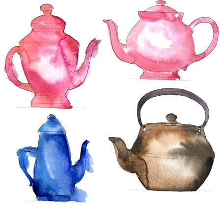 Set of bright teapots on white background. Hand drawn  illustration.