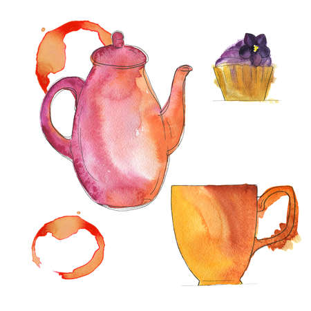 Set of pink teapot, yellow mug and lavender cupcake on white background with tea or coffee stain. Hand drawn  illustration. Banco de Imagens