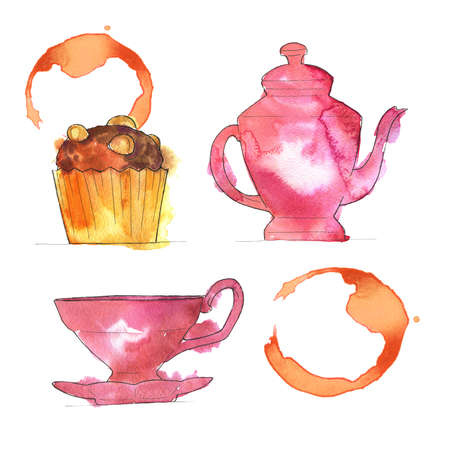 Set of pink teapot, pink teapot, cup of tea and coffee stain. Hand drawn  illustration. Banco de Imagens