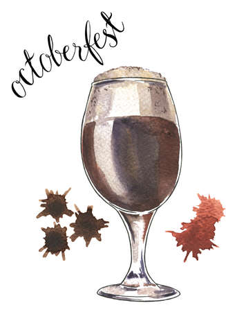 Glass of dark beer on white background with brown spots. Hand lettering. Octoberfest card. Hand drawn watercolor illustration.