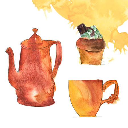 Set of teapot, cupcake with mint cream and piece of chocolate and teacup on white background. Orange abstract background with spots. Hand drawn  and ink illustration.