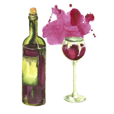 Set of glass and bottle of red wine on white background. Hand drawn  illustration.