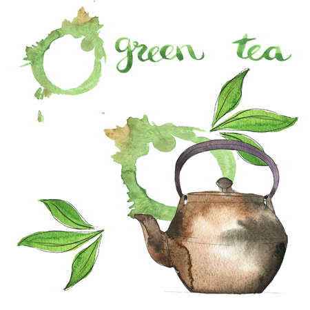 Japan teapot and green tea leaves on white background with abstract green tea stains. Hand drawn  and ink illustration.