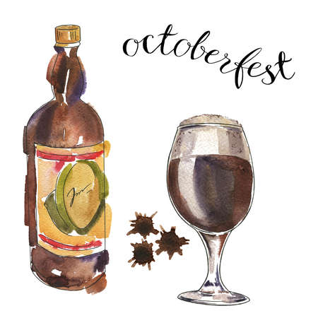 Glass and bottle of dark beer with brown backdrops. Hand lettering. Octoberfest card. Hand drawn  illustration.