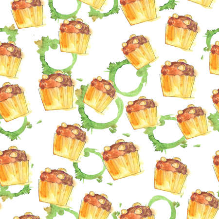 Seamless pattern with almond cupcakes and green tea stains on white background. Hand drawn  illustration. Banco de Imagens