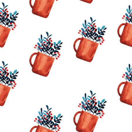 Seamless pattern with cartoon brown mugs and berry herbal tea painted by watercolor. Hand drawn illustration.